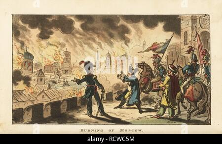 Napoleon Bonaparte watching the Fire of Moscow after the Battle of Borodino, 1812. Handcoloured copperplate engraving by George Cruikshank from The Life of Napoleon a Hudibrastic Poem by Doctor Syntax, T. Tegg, London, 1815. - Stock Photo