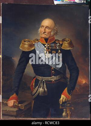 Portrait of Field Marshal Count Ludwig Adolf Peter of Sayn-Wittgenstein-Ludwigsburg (1769-1843). Museum: State Tretyakov Gallery, Moscow. Author: Krüger, Franz. - Stock Photo
