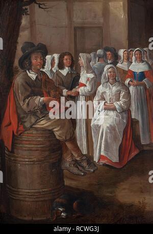 Wedding scene. Museum: PRIVATE COLLECTION. Author: Michelin, Jean. - Stock Photo