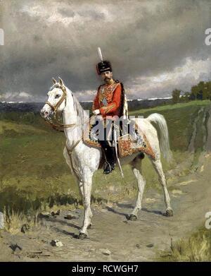 Portrait of Emperor Nicholas II (1868-1918). Museum: State Russian Museum, St. Petersburg. Author: Makovsky, Alexander Vladimirovich. - Stock Photo