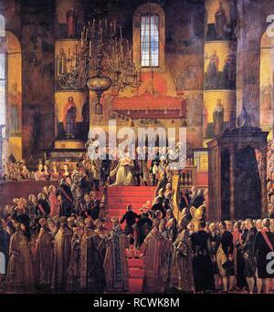 The Coronation of Emperor Paul I and Empress Maria Feodorovna. Museum: State A. Radishchev Art Museum, Saratov. Author: Quadal, Ferdinand Martin. - Stock Photo