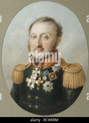Portrait of Field Marshal Count Ludwig Adolf Peter of Sayn-Wittgenstein-Ludwigsburg (1769-1843). Museum: Institut of Russian Literature IRLI (Pushkin-House), St Petersburg. Author: Senff, Karl August. - Stock Photo