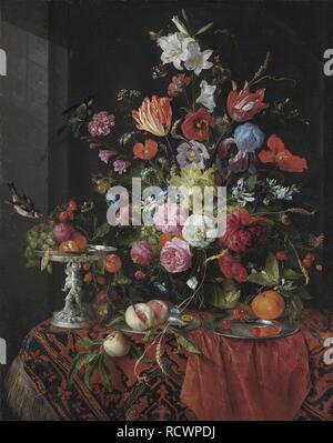 Flowers in a glass vase on a draped table, with a silver tazza, fruit, insects and birds. Museum: PRIVATE COLLECTION. Author: HEEM, JAN DAVIDSZ DE. - Stock Photo