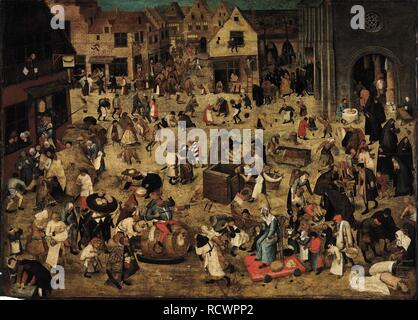 The Combat between Carnival and Lent. Museum: PRIVATE COLLECTION. Author: BRUEGHEL, PIETER THE YOUNGER. - Stock Photo