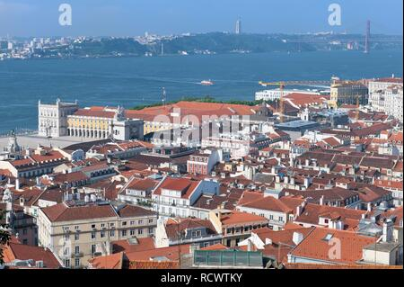 Overlooking Lisbon and Praça do comercio, commerce square, near Tajus river, Baixa district, Lisbon, Portugal, Europe - Stock Photo