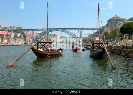 Rabelo boat, Porto, Unesco World Heritage Site, Portugal, Europe - Stock Photo