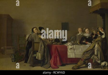 A Merry Company at Table. Museum: National Gallery, London. Author: Pot, Hendrik Gerritsz. - Stock Photo