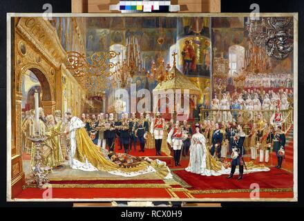 Coronation of Empreror Alexander III and Empress Maria Fyodorovna. Museum: State Tretyakov Gallery, Moscow. Author: BECKER, GEORGES. - Stock Photo