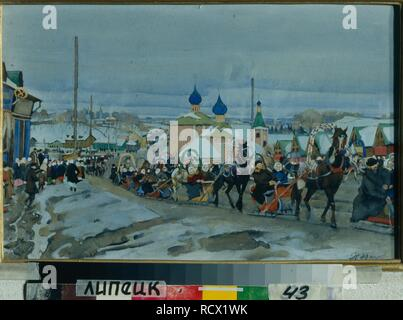 Sleigh Ride Driving at Shrovetide. Museum: Regional Art Museum, Lipetsk. Author: Yuon, Konstantin Fyodorovich. Copyright: This artwork is not in public domain. It is your responsibility to obtain all necessary third party permissions from the copyright handler in your country prior to publication. - Stock Photo