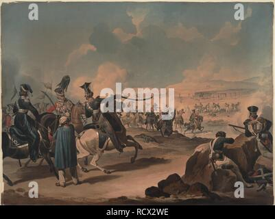 Russian cavalry attacking French infantry at Borodino. Museum: PRIVATE COLLECTION. Author: DIGHTON, DENIS. - Stock Photo
