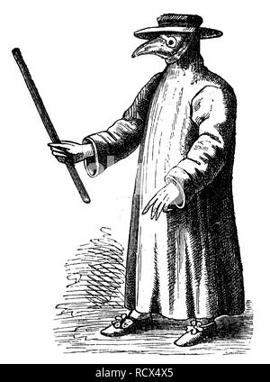 Plague doctor from 17th century, woodcut, historical engraving, 1880 - Stock Photo