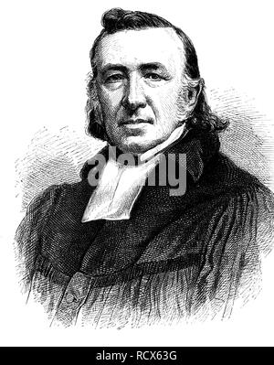 Leopold Adolf Karl Sydow, 1800 - 1882, Protestant theologian, wood engraving, 1880 - Stock Photo