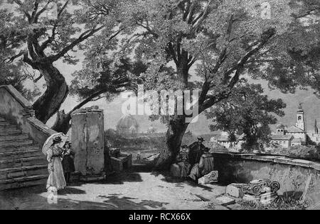 The Tasso's oaks in Rome, Italy, wood engraving, 1880 - Stock Photo