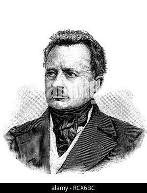 Joseph Maria Ernst Christian Wilhelm von Radowitz, 1797 - 1853, Prussian general, diplomat and politician, wood engraving - Stock Photo