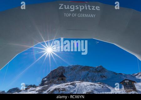 Top of Germany, Zugspitzplatt, Zugspitze, Garmisch-Partenkirchen, Wetterstein range, Alps, Upper Bavaria, Bavaria, Germany - Stock Photo