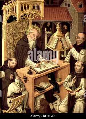 Saint Jerome in the scriptorium. Museum: Museo Lázaro Galdiano, Madrid. Author: Master of Monasterio de Santa María del Parral. - Stock Photo