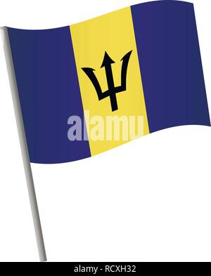 Barbados flag icon. National flag of Barbados on a pole vector illustration. - Stock Photo