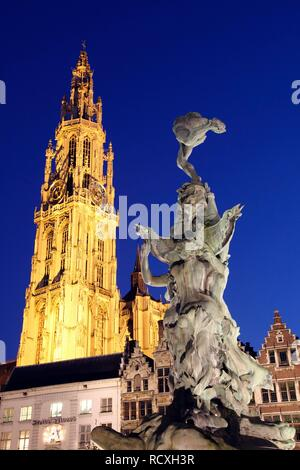 Cathedral, Brabo fountain, guild houses and gabled houses in the back, Grote Markt, historic centre of Antwerp, Flanders - Stock Photo