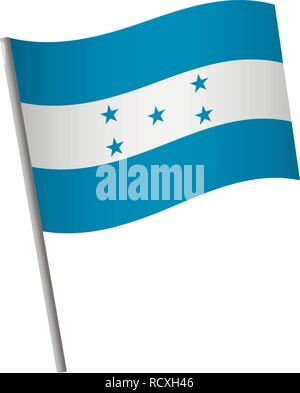 Honduras flag icon. National flag of Honduras on a pole vector illustration. - Stock Photo