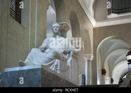 Marble figure of King Ludwig I in the Lichthof of the LMU, Ludwig-Maximilians-University, Munich, Upper Bavaria, Bavaria - Stock Photo