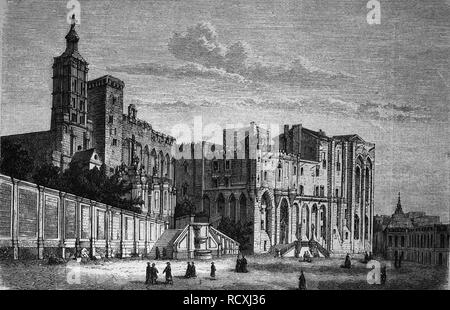 The Papal Palace in Avignon, France, woodcut 1888 - Stock Photo