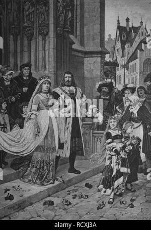 Albrecht Duerer's wedding, Albrecht Duerer the Younger, 1471 - 1528, German painter, printmaker, mathematician and art theorist - Stock Photo