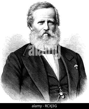 Dom Pedro II, 1825 - 1891, Emperor of Brazil from 1831 to 1889, woodcut 1888 - Stock Photo