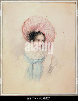 Portrait of Empress Alexandra Fyodorovna (Charlotte of Prussia), Emperor's Nicholas I. wife (1798-1860). Museum: State V. Tropinin-Museum, Moscow. Author: Sokolov, Pyotr Fyodorovich. - Stock Photo