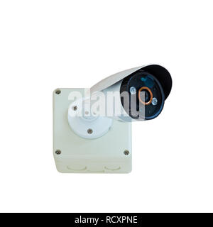 CCTV security camera isolate on white background with clipping path - Stock Photo