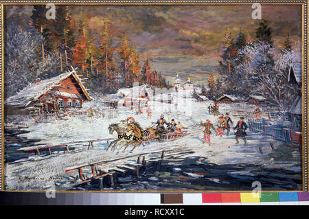 Russia. Winter. Museum: PRIVATE COLLECTION. Author: Korovin, Konstantin Alexeyevich. - Stock Photo