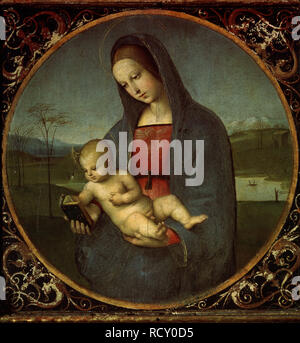 Madonna and Child (Madonna Conestabile). Museum: State Hermitage, St. Petersburg. Author: Raphael (Raffaello Sanzio da Urbino). - Stock Photo