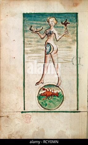 Personification of Luna. Calendar for the year 1446. Germany; 1446. (Whole folio) Personification of Luna [the Moon], holding a horn; below, Cancer  Image taken from Calendar for the year 1446.  Originally published/produced in Germany; 1446. . Source: Add. 17987, f.75v. Language: German. - Stock Photo