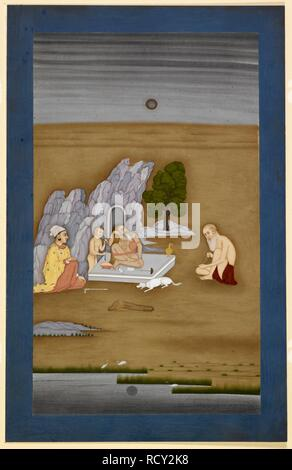 Ascetics in a wilderness. An ascetic with long hair rests at night on a plinth set outside a rocky cave. A dog, a boy and two companions are with him. Fullerton Collection. c.1764. opaque watercolour. Source: Add.Or.737. Author: Dip Chand. - Stock Photo