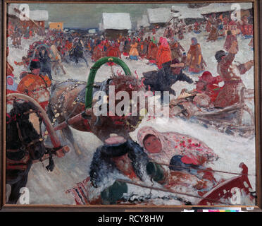 Shrovetide. Museum: Regional A. and V. Vasnetsov Art Museum, Kirov. Author: Ivanov, Sergei Vasilyevich. - Stock Photo