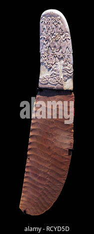 6395. Knife with highly decorated ivory handle and Flintstone blade, Gabel el-Arak, south of Abydos, Egypt, c. 3300-3200 BC. - Stock Photo