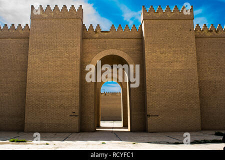 6416. The Ishtar Gate was the eighth gate to the inner city of Babylon. It was constructed in about 575 BC by  King Nebuchadnezzar II.(reconstruction) - Stock Photo