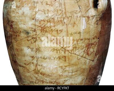 6424. Kuntilet Ajrud, a large ceramic jar inscribed with the Hebrew Alphabet, Northern Sinai, c. 800 BC. - Stock Photo