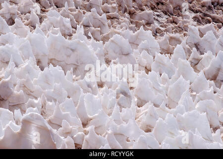 Ice or snow penitentes at Paso De Agua Negra mountain pass, Chile and Argentina, South America - Stock Photo