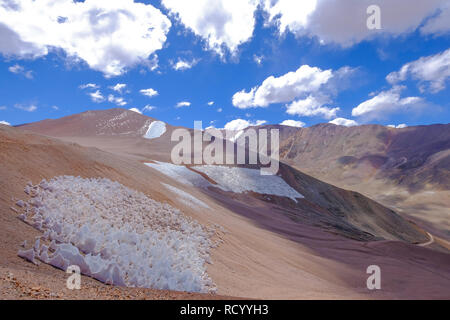 Ice or snow penitentes and andean landscape at Paso De Agua Negra mountain pass, Chile and Argentina, South America - Stock Photo
