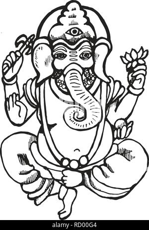 Illustration of Ganesh dancing with lotus and ax. - Stock Photo