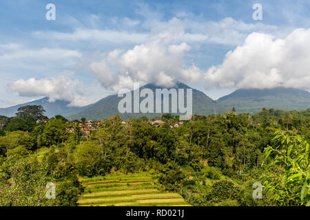 View of mountains and fields in Bedugul, Tabanan, Bali, Indonesia. - Stock Photo