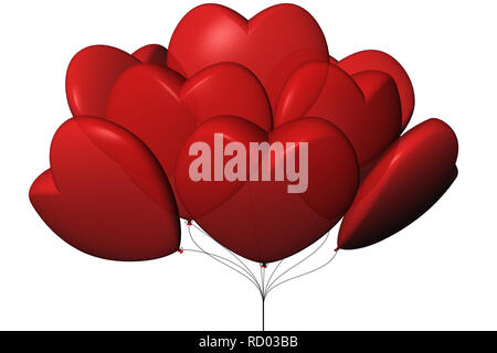 3D illustration. Balloons in the shape of heart. white background. - Stock Photo