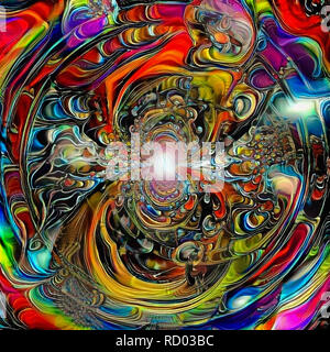 Abstract vivid painting. Colorful vortex - Stock Photo