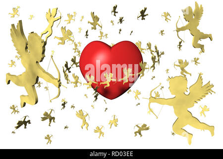 3D illustration. Valentine, heart and cupid. Background White. - Stock Photo