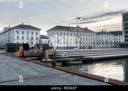 Hot tubs and sauna on the copenhagen harbour during winter alfesco Denmark - Stock Photo