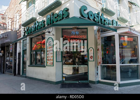 The exterior of COSTAS RICAS, a Columbian steak house restaurant and bakery on Roosevelt Avenue in Jackson Heights, Queens, New York City. - Stock Photo