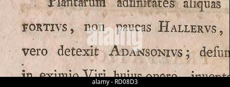 . De rerum naturalium adfinitatibus: inauguralis dissertatio, quam in celeberrima ac Regia Vniuersitate Tyrnauiensi ... publicae disquisitioni. Natural history. DE R E R V M N A T V R A L I V M ADFINITATIBVS. Quid, et quotuplex fit adjinitas rerum natura- liutnl- 5.1. Adfinitas in rebus creatis efl Iiarmonicus' ille confenfus, qui indiuiduum quodlibet, vni iragis, quara alteri limile reddit. Naturam nullum faltum facere; adfinitates efTe inter regna, clalfes, genera, fpecies, fcriptores onines vno ore fatentur. Ita lichenum cruftaceo- rum gens illa,' quam tenuiflimae glareae fimilis, variisque - Stock Photo