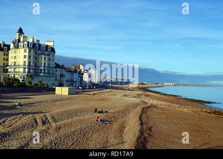 View of Eastbourne seafront in the late afternoon sun, East Sussex, UK - Stock Photo