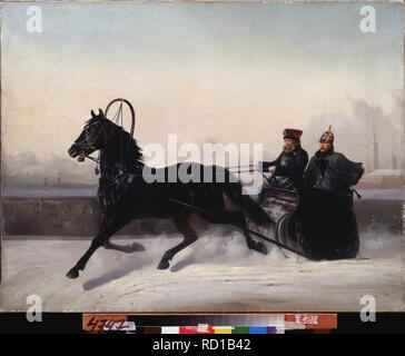 Emperor Nicholas I on a horse drawn sledge. Museum: Far Eastern Art Museum, Khabarovsk. Author: Sverchkov, Nikolai Yegorovich. - Stock Photo