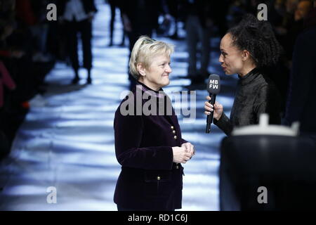 Berlin, Germany. 15th Jan, 2019. Berlin. The photo shows Politician Renate Künast (Greens) in an interview at Fashion Week in Berlin Credit: Simone Kuhlmey/Pacific Press/Alamy Live News - Stock Photo